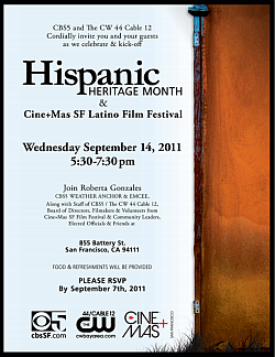 Aroma Buena Catering is again honored to be the caterer of the CBS 5/KPIX and The CW 44 Cable 12/KBCW Celebration and Kick-Off of Hispanic Heritage Month and CINE+MAS SF Latino Film Festival on September 14, 2011. 