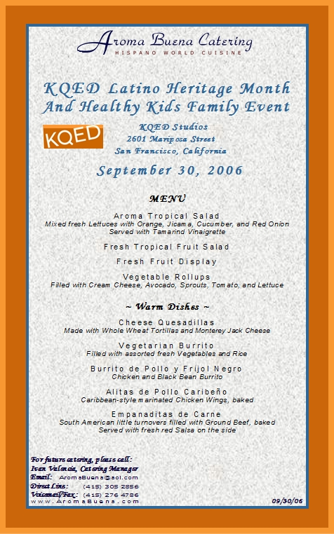 Sample of Actual Client Menu:   Appetizers