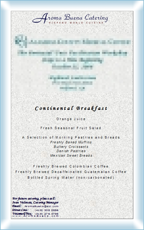 Continental Food Menu Pdf