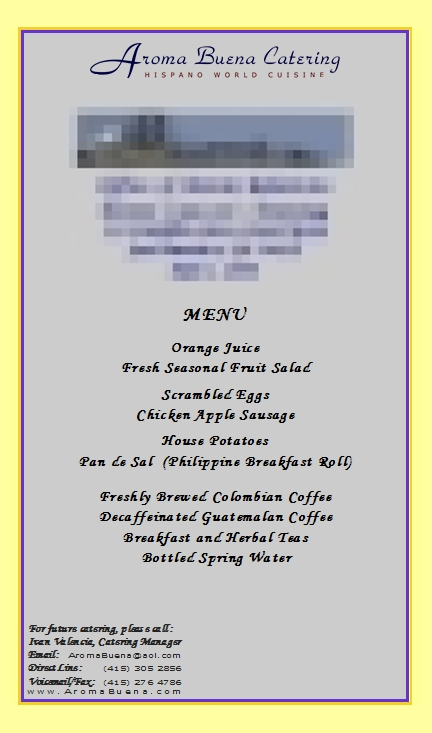 Sample of Actual Client Menu:   Breakfast