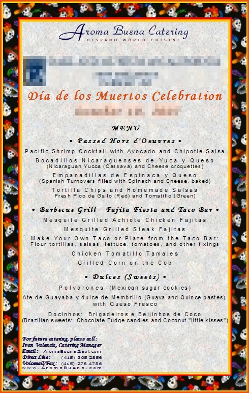 Sample of Actual Client Menu:   Dinner