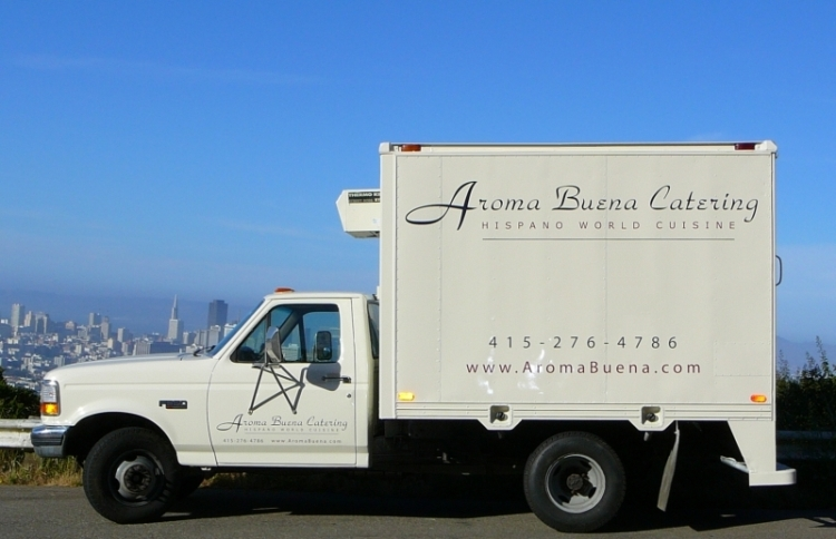 Aroma Buena Catering truck -- with refrigeration capability.