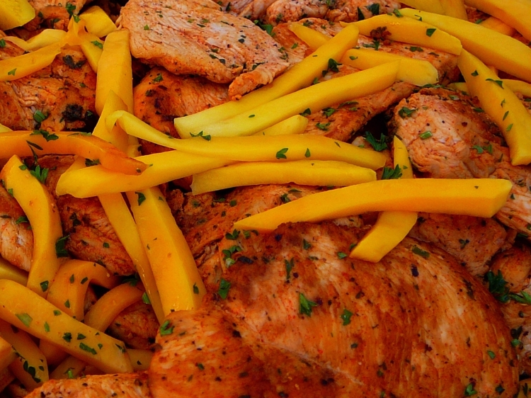 Photo: Caribbean Chicken Breast with Mango.   [You can click here to go to the Photos page.]  San Francisco Catering -  AROMA BUENA CATERING - Hispano World Cuisine www.AromaBuena.com