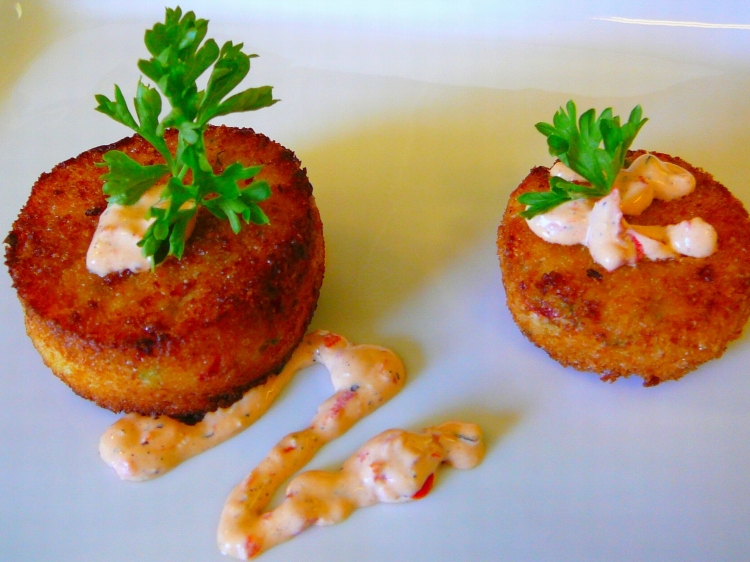 Photo: Tortitas de Cangrejo (Crab Cakes).   [You can click here to go to the Photos page.]  San Francisco Catering -  AROMA BUENA CATERING - Hispano World Cuisine www.AromaBuena.com
