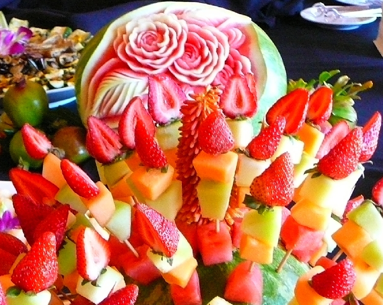 Photo: Fruit Skewers, in front of Carved Watermelon.