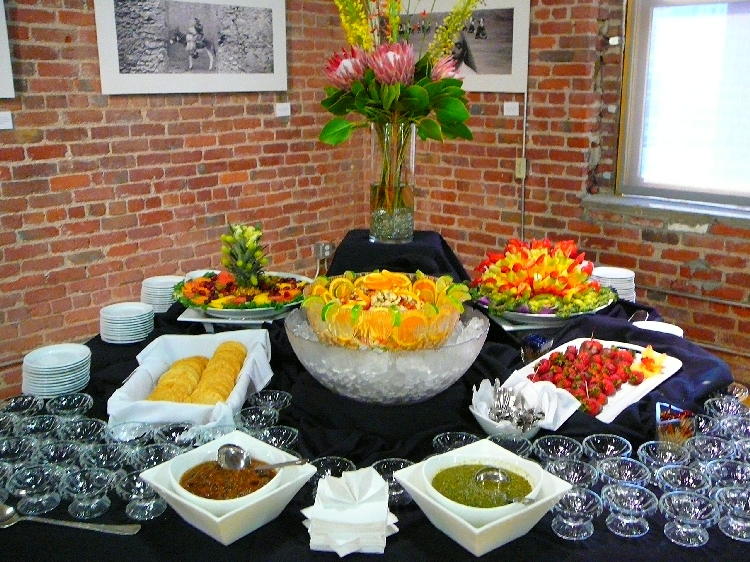 Photo: Fruit Platter, Ceviche Veracruzano with Mini Tostadas and Salsas, Fruit Skewers, Chocolate Strawberries.