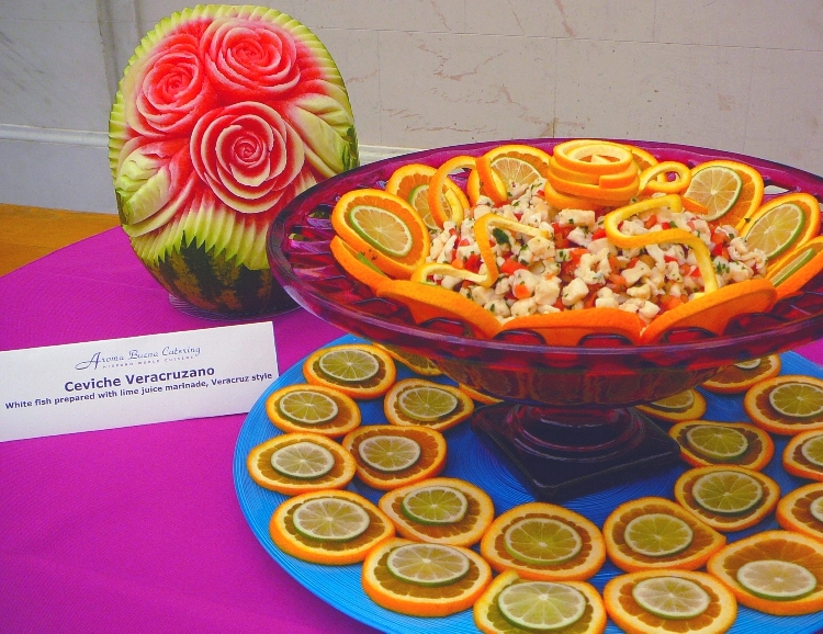 Photo: Ceviche Veracruzano, in front of Carved Watermelon.   [You can click here to go to the Photos page.]  San Francisco Catering -  AROMA BUENA CATERING - Hispano World Cuisine www.AromaBuena.com
