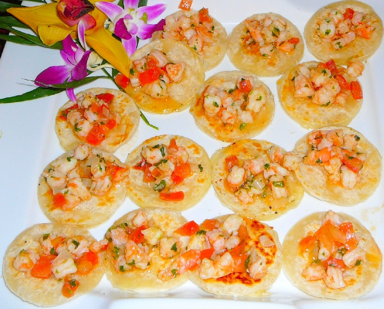 Photo: Mini Quesadillas topped with Shrimp.